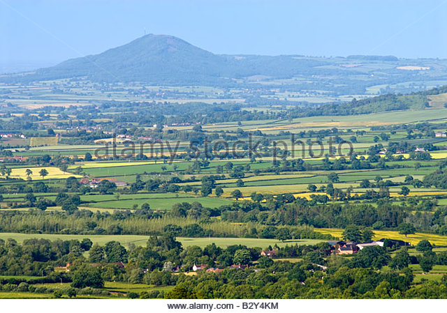 The Wrekin and surrounding countryside from Long Mynd, Shropshire, England, UK. - Stock Image
