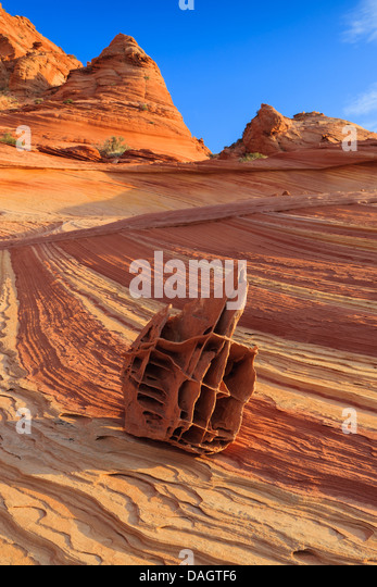 Rock formations in the North Coyote Buttes, part of the Vermilion Cliffs National Monument. Also known as The Boneyard - Stock Image