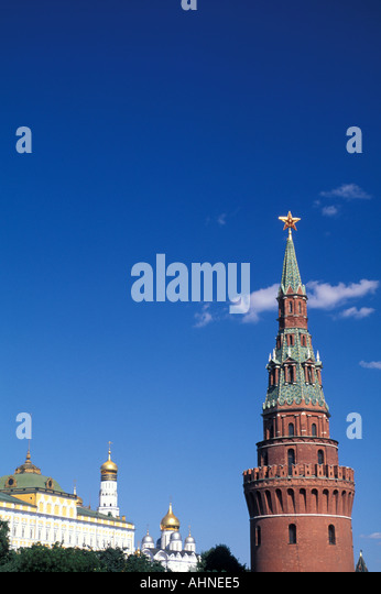 Moscow Russia Kremlin Towers Palace Onion Domes - Stock Image