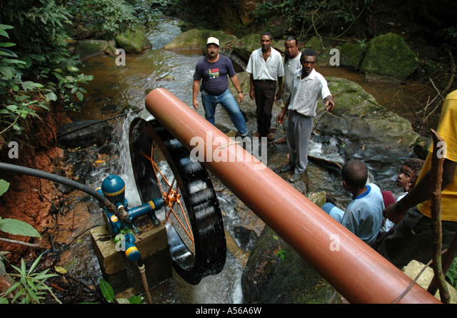 Painet iy8174 brazil water wheel driven stream operating pump raise