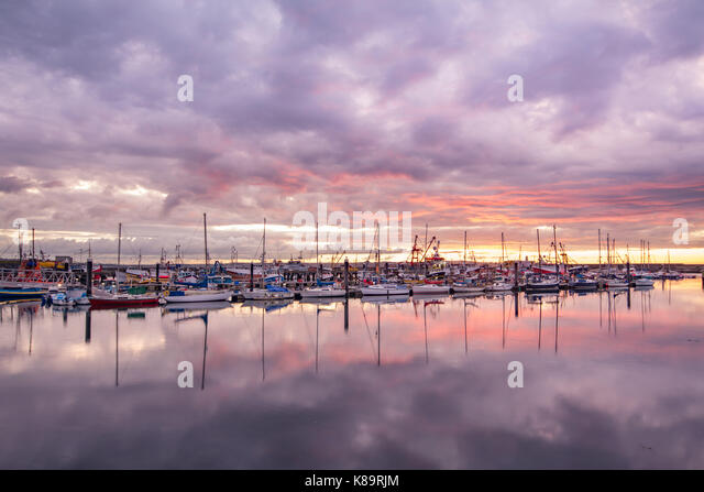 Newlyn, Cornwall, UK. 19th Sep, 2017. UK Weather. Despite low clouds at sunrise, the harbour at Newlyn lit up with - Stock Image