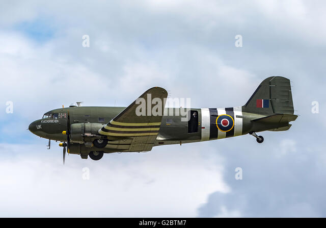 Douglas C-47 Dakota transport aircraft from the Royal Air Force Battle of Britain Memorial Flight based at RAF Coningsby - Stock Image
