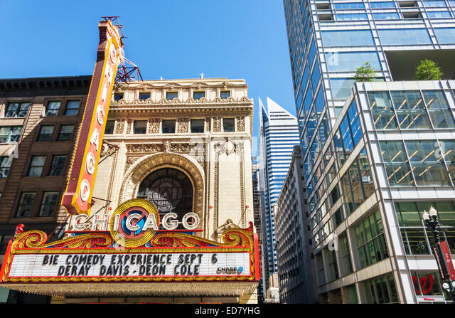 Chicago Illinois Loop Retail Historic District downtown North State Street Willoughby Tower Chicago Theater marquee - Stock Image