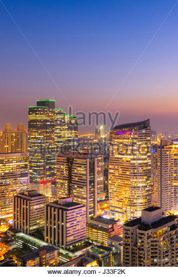 Cityscape view of Bangkok modern office business building in business zone at Bangkok,Thailand. Bangkok is the capital - Stock Image