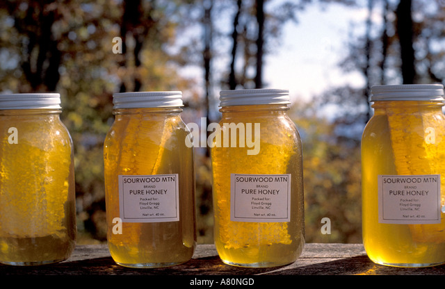 Honey comb jars home made fall - Stock Image