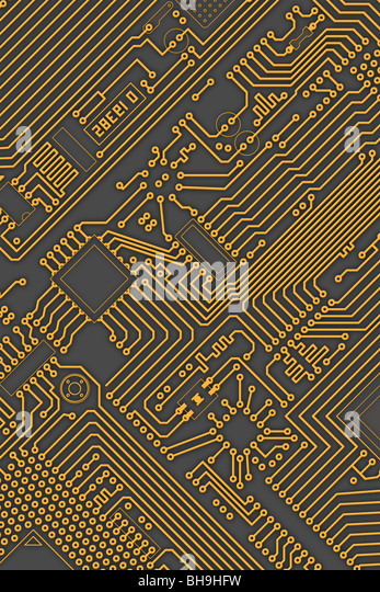 Circuit board industrial electronic yellow - gray background - Stock Image