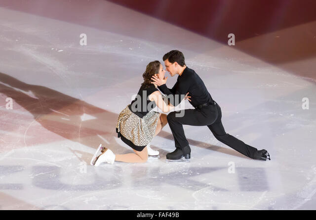 Charlene Guignard e Marco Fabbri skating free dance champions - Stock Image