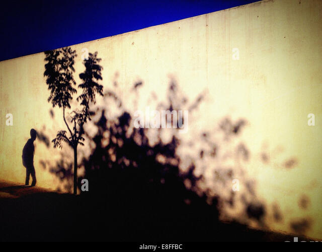 Brazil, Sao Paulo, Shadows on Wall - Stock Image
