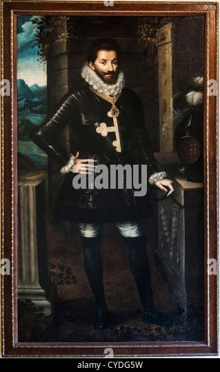 Europe Italy Piedmont Province of  Saluzzo Casa Cavassa room angle South - East Portrait of Carlo  Emanuele  I, - Stock Image