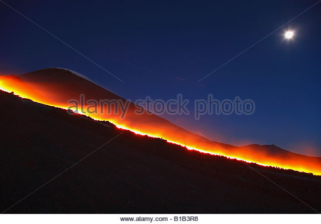 Italy, Sicily, Mt Etna, molten lava flowing from volcano - Stock Image