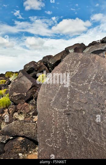 Petroglyph (rock art) on rock, Boca Negra Canyon, Petroglyph National Monument, Albuquerque, New Mexico USA - Stock Image