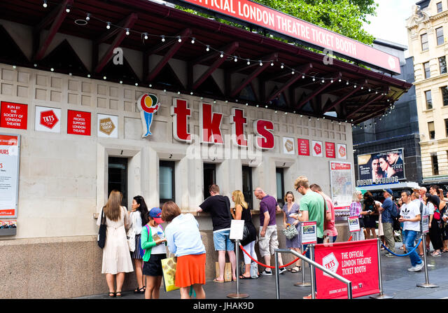 The theatre ticket booth in Leicester Square, London, England. - Stock Image