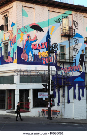 Canada, Quebec, Montreal, mural, graffiti, Boulevard Saint-Laurent, - Stock Image