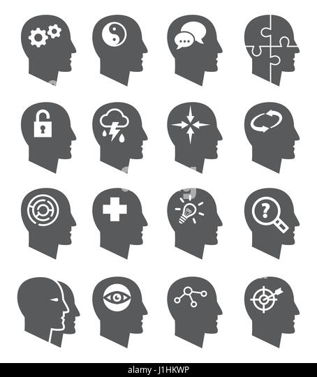 Psychology vector icons set - Stock Image