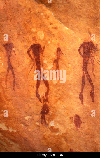 South Africa bushman drawings rock paintings a modern copy - Stock Image