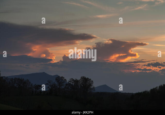 Dramatic Evening Sky in East Tennessee - Stock Image