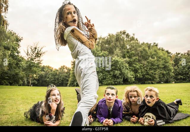 Children dressed as zombies for Halloween Night. - Stock-Bilder
