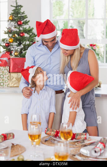 Happy family at christmas - Stock Image