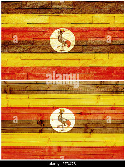 Vintage wall flag of Uganda - Stock Image