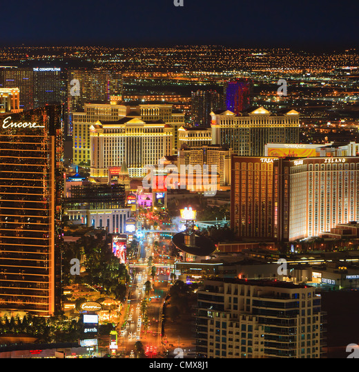 Las Vegas By Night From Stratosphere Tower - Stock Image