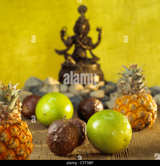 Different exotic fruits, close-up - Stock Image
