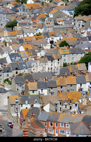 Terraced houses on isle of portland - Stock Image