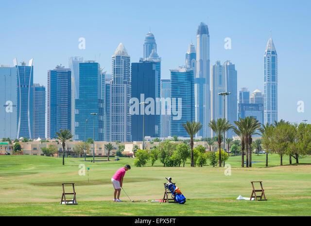 Dubai Marina skyline from Emirates Golf club,  Dubai City, United Arab Emirates, UAE, Middle East - Stock Image