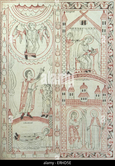 Medieval  10th / 11thC Swabian Illuminated manuscript showing St Gregory (Pope Gregory) (being dictated to by the - Stock-Bilder