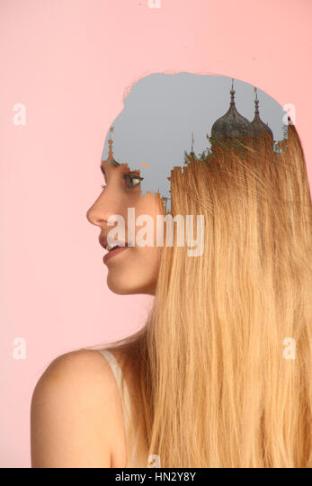 Double exposure photography - Stock Image