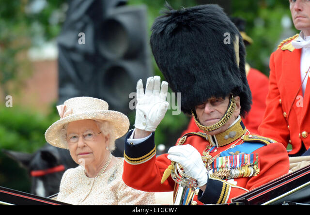 The centuries old tradition saw the Colour trooped by 1st Battalion Welsh Guards, with the Royal Family and military - Stock Image