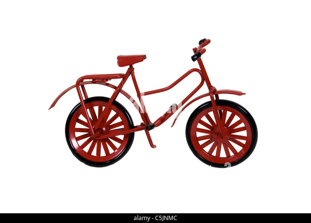 Red Bicycle used as a personal transportation vehicle - path included - Stock Image
