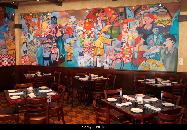 Nevada Las Vegas Downtown Golden Nugget Hotel & Casino hotel restaurant tables mural painting art - Stock Image