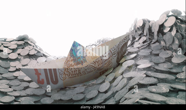 A paper ship made out of a ten pound banknote heading into an iceberg - 3d illustration - Stock-Bilder
