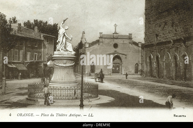 Place de Theatre Antique - Orange, France - Stock Image