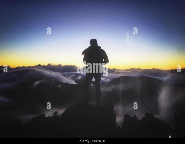 Sunrise at the top of Haleakala mountain in Maui. - Stock Image
