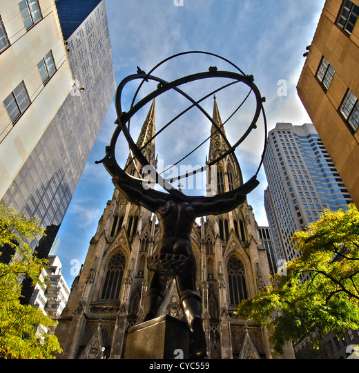 Image of the Atlas Statue with St. Patrick's Cathedral in the background, Manhattan, New York City. - Stock Image