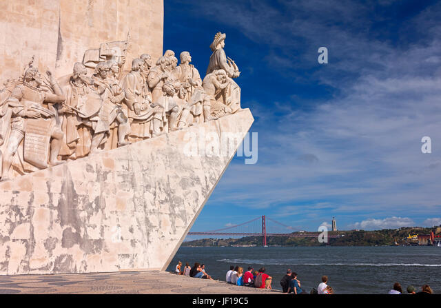 Monument to the Discoveries, Cristo Rei statue and bridge Belem Lisbon Portugal - Stock Image