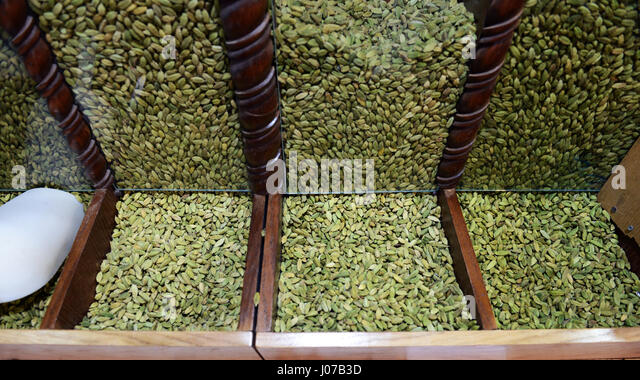 Fresh Cardamom sold in a spice and coffee shop in Aqaba, Jordan. - Stock Image