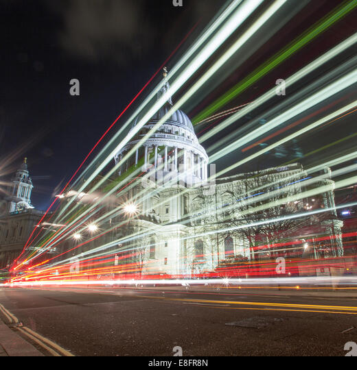 United Kingdom, London, St Pauls Cathedral at night - Stock Image