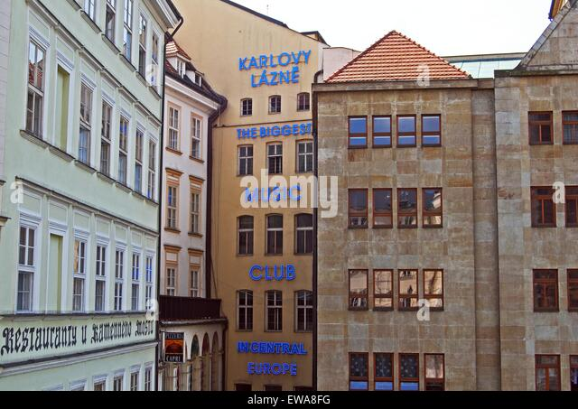 Biggest music club in central Europe (Karlovy Lazne), Prague, Czech Republic, Eastern Europe. - Stock-Bilder