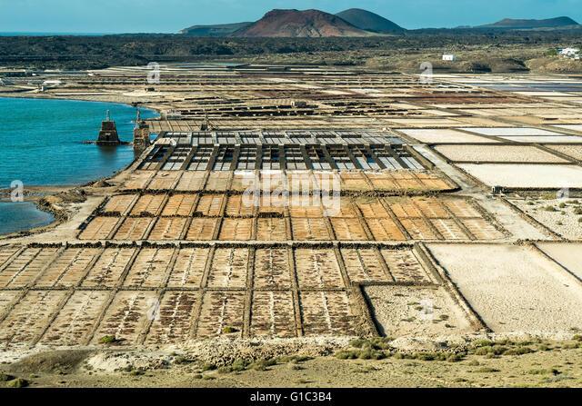 Salinas, Lugano de Janubio, Lanzarote, Canary Islands, Spain - Stock-Bilder