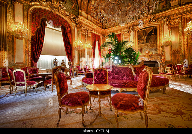 Appartements of Napoléon III in Louvre Palace, France - Stock Image