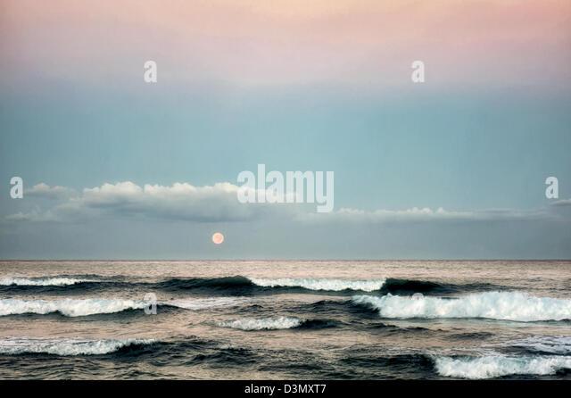 Moonset. Hawaii, The Big Island. - Stock Image