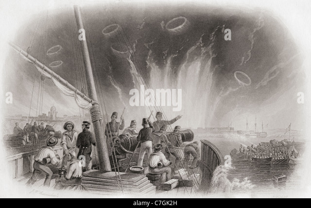 The bombardment of the sea fortress Sveaborg, Finland by the Anglo-French fleet during The Crimean War of 1853-1856. - Stock Image