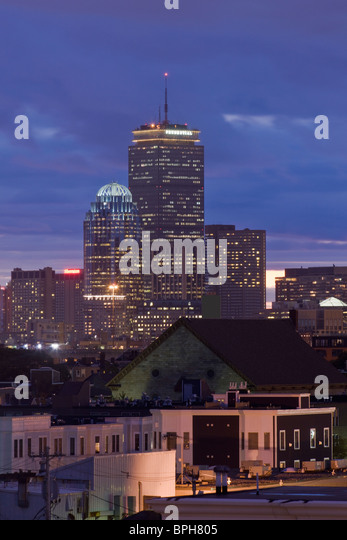 Buildings lit up at night, Boston, Massachusetts, USA - Stock Image