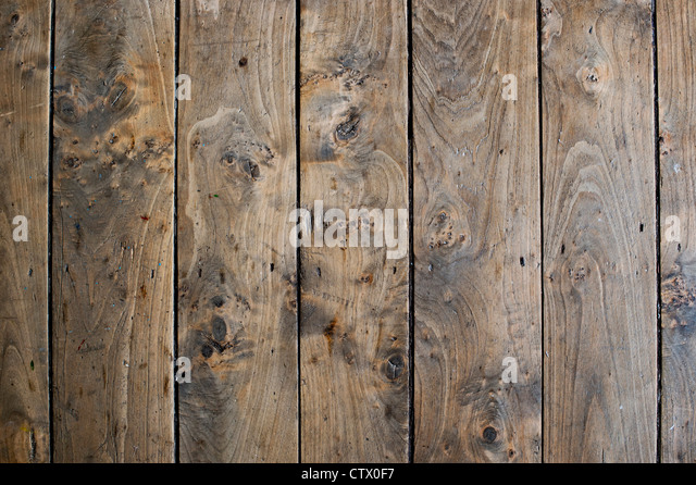 Old Oak wooden floor boards - Stock Image