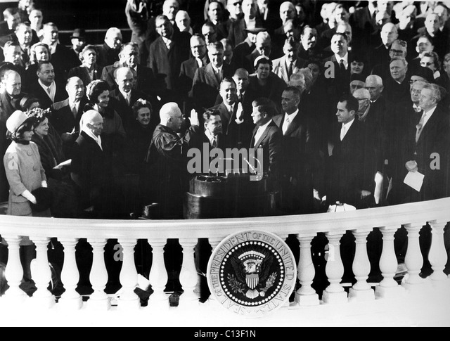 JOHN F.KENNEDY, being sworn in as President, at his Inauguration, January 20, 1961. - Stock Image