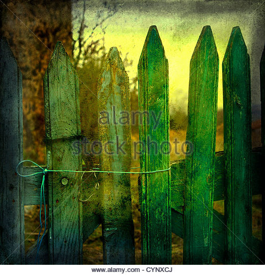 Green fence gate held with string - Stock Image