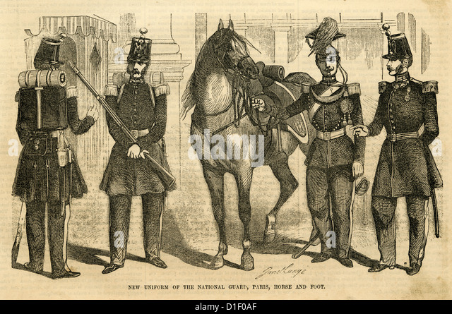 1854 engraving, New Uniform of the National Guard, Paris, Horse and Foot. - Stock Image