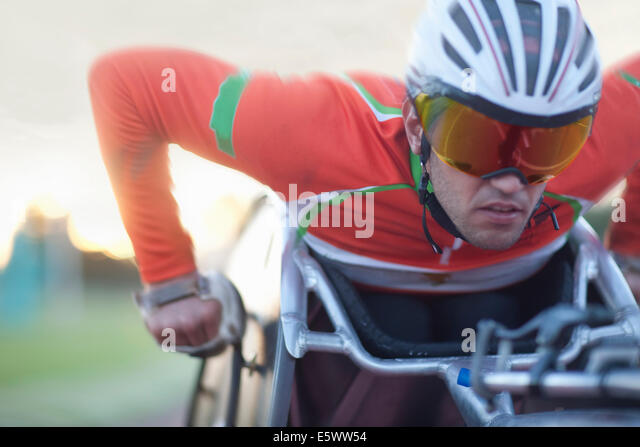 Close up of athlete in para-athletic competition - Stock Image